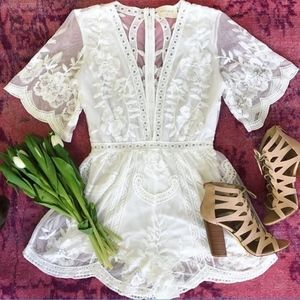Pants - NWT White Lace Romper